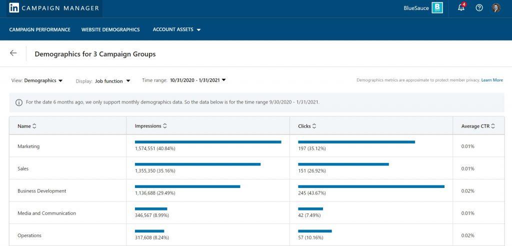 linkedin demographics report screen